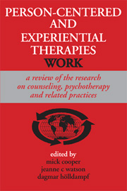 Person-Centered and Experiential Therapies Work: A review of the research on counseling, psychotherapy and related practices